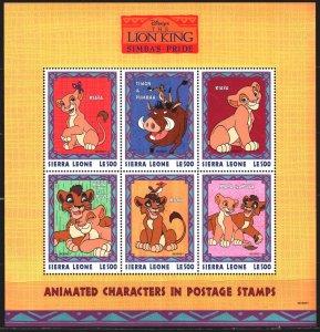 Sierra Leone. 1998. Small sheet 3045-50. Cartoon, Disney, The Lion King. MNH.