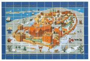 Denmark. Christmas Sheet 1987 Kalundborg In The Old Days. Dog,Cat,Birds.