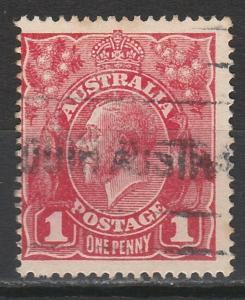 AUSTRALIA 1916 KGV 1D DIE II ROUGH PAPER USED