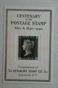 Kenmore Stamp Dealer Centenary 1940 Penny Black Free Philatelic Souvenir Ad