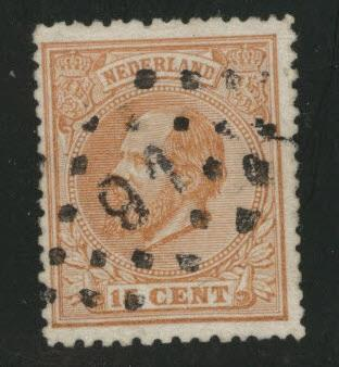 Netherlands Scott 27 used 1872 perf 13.5x14 stamp