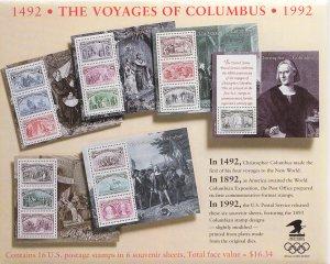 US Sc 2624-2629 MNH.1992 Columbus Souvenir Sheets in Original USPS Envelope, VF