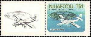 Tonga-Niuafoou #1-2, Complete Set(2), 1986, Airplanes, Never Hinged