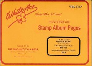 WHITE ACE 2019 US Commemorative Plate Blocks Album Simplified Supplement PB-71s