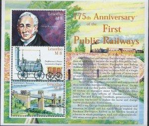 Lesotho - 2000 Public Railways  3 Stamp Sheet  12E-026