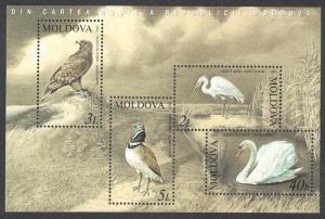 Moldova Swan Eagle Bustard Egret Birds MS SG#MS481 MI#Block 30 SC#464a