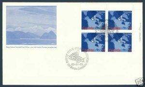 Canada sc#847ii Arctic Islands: Map of Canada, UR Imprint Block, First Day Cover