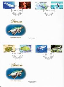 Samoa 2014 FDC Threatened Species Pt 2 12v Set on 3 Covers Marine Fish Sharks