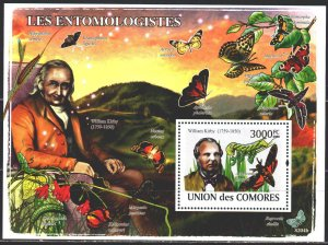 Comoro Islands. 2009. bl464. Entomologist, butterflies. MNH.