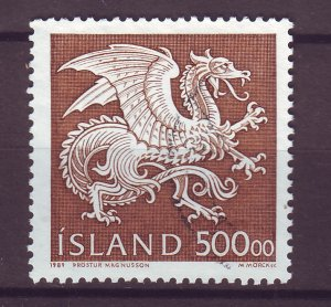 J25443 JLstamps 1989 iceland set of 1 used #677 dragon type