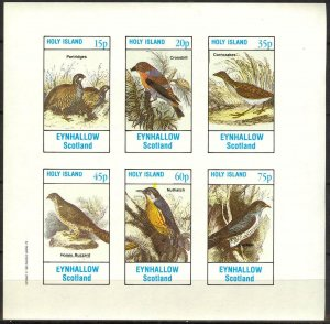{E280} Eynhallow Scotland Birds Sh.6 Imperf. MNH Cinderella
