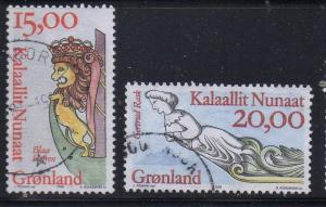 Greenland Sc 309-10 1996 Ship Figureheads stamp set used