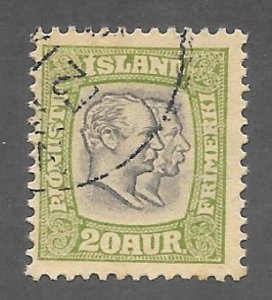 Iceland Scott O37 Used 20a Christain IX & Frederik Official stamp 2018 CV $6.00