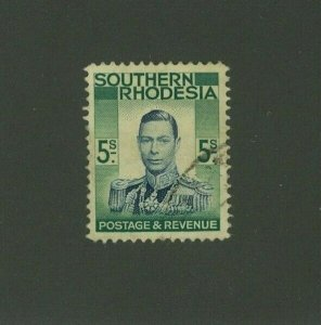 Southern Rhodesia 1937 5sh George VI Scott 54 used, Value = $3.50