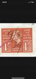 SOUTH AFRICA - 1939 Cancelled Share Certificate with 1938 KGVI 1/- Revenue stamp
