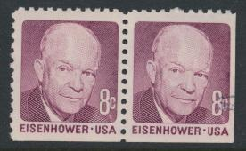 USA Used  SC# 1395  Eisenhower pair  imperf corner see details