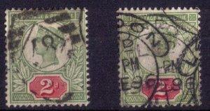 Great Britain Scott #113a (Sg 199-200) Cat.$253.00 Used Green/Carmine & Scarlet