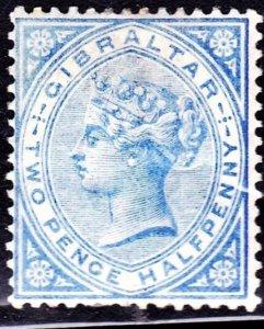 GIBRALTAR 1886 QV 2.5d Blue SG11 MH