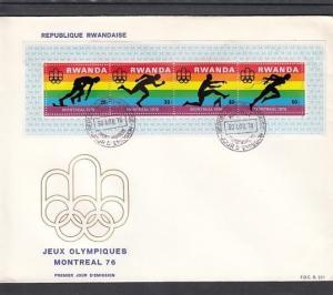 Rwanda, Scott cat. 770. Montreal Summer Olympics s/sheet. First day cover.