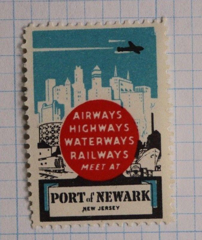 Port of Newark New Jersey city ad transportation industry promo airways Poster
