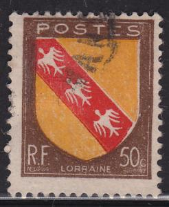 France 564 USED 1946 Arms of Lorraine 50c