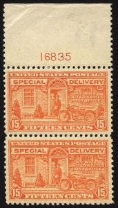 #E13 15c Orange Spec Delivery 1925 Durland Plate #16835 XF Pair MNH Gem Fresh