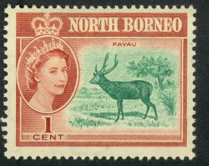 NORTH BORNEO 1961 QE2 1c MALAYAN SAMBAR Pictorial Sc 280 MH