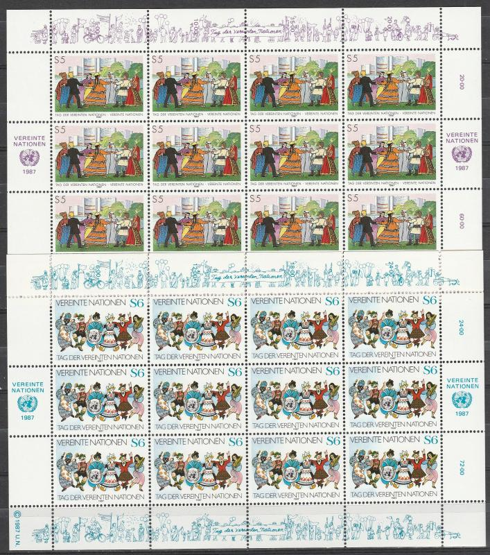 United Nations Vienna #74-5  Panes Of 12 MNH CV $22.00  (A3387L)