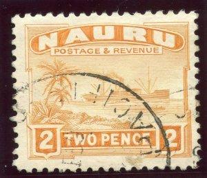 Nauru 1924 KGV 2d orange very fine used. SG 29A. Sc 20.