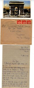 France NY 1937  Cover w 3 x 50c Stamps tied w Fancy Cancels also Letters & PC