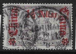 GERMAN P.O.'S IN CHINA SG44 1905 1½d ON 3m VIOLET-BLACK p26x17 USED