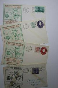 Spring Meeting APS Port of Detroit MI 1959 Philatelic Expo Cachet Cover Set 4