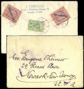 AUTRICHE / AUSTRIA / ÖSTERREICH 1919 2x Mi.231 & Mi.256 cover to Newark, NJ USA