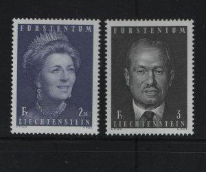 LIECHTENSTEIN 472-473, MNH, 1970-71 Prince Franz Joseph II and Princess Gina