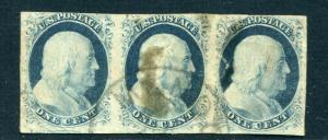 UNITED STATES 9 USED,STRIP OF 3, left stamp sound,other thin
