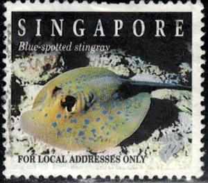 Fish, Blue-Spotted Stingray, Singapore stamp SC#675B used