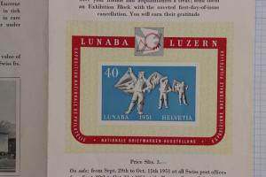 Swiss Exhibition Block charity sheet SS LUNABA leaflet ad B206 MS531 1951 FDC DM