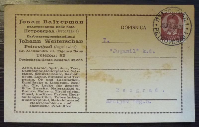 YUGOSLAVIA - ADVERTISING CARD - JUDAICA - ''JOHANN WEITERSCHAN'' R! J17