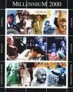 Turkmenistan 1999 GANDHI/CHARLES & DIANA /MILLENNIUM 2000 Sheetlet Perforated