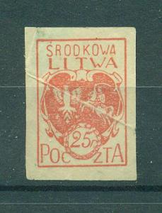 Central Lithuania sc# 1 imperf mh cat value $.40