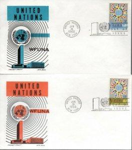 UN NY FDC #154-155 WFUNA, Cachet Craft (1232)