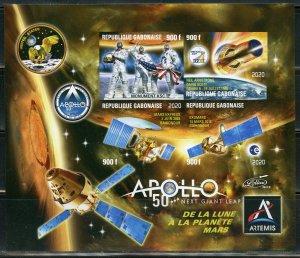 GABON 2019 50th ANNIVERSARY OF APOLLO 11  SHEET III IMPERF  MINT NH