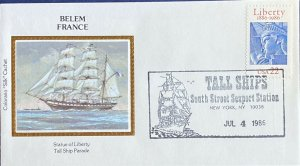 Colorano Silk 2224 Statue Liberty Tall Ships Seaport Station Belem France