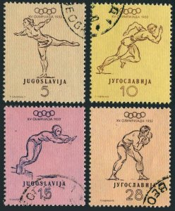 Yugoslavia 359-362,CTO.Mi 698-701. Olympics Helsinki 1952.Gymnast,Swimmer,Boxer,