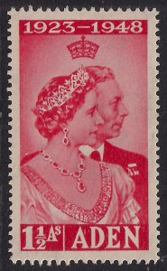 Aden 1948 KGV1 1 ½ Annas Scarlet Silver wedding SG 30 Umm  ( G1088 )