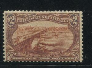 1898 US Stamp #293 $2 Mint Hinged Fine Original Gum Catalogue Value $1800