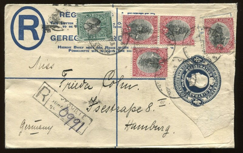 South Africa 1928 4d registered envelope to Hamburg Germany