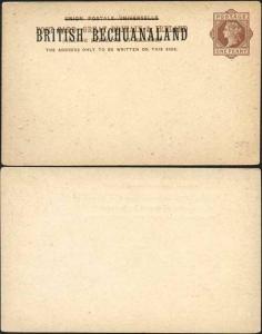 British Bechuanaland O/P on QV 1d Brown Foreign Postcard Mint
