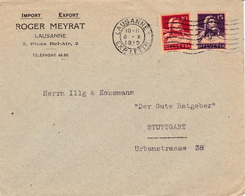 Switzerland 1919 10c & 15c Tell Bust on Lausanne Comercial Cover to Stuttgart