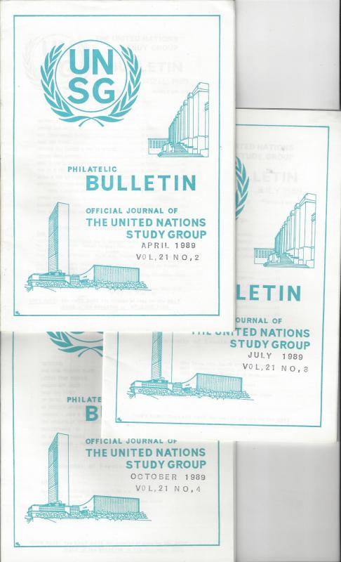 United Nations UNSG Philatelic Bulletin, Vol 21 1989  3 Dif editions